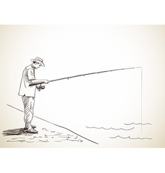 man fishing vector image