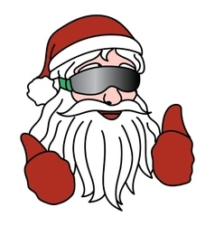 Portrait of santa claus with ski goggles vector