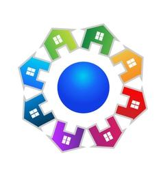 Real estate around world logo vector image vector image