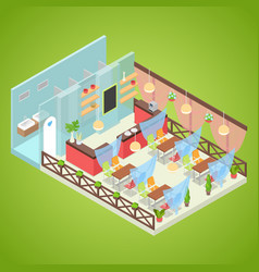 summer cafe interior design isometric vector image vector image