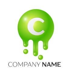 c letter splash green dots and bubbles letter vector image