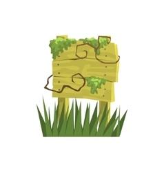 Old Wooden Sign Covered In Vegetation Jungle vector image