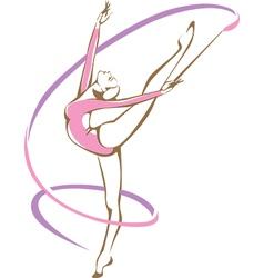 Rhythmic gymnast with a ribbon vector image vector image