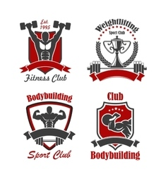 Bodybuilding and weightlifting sport club sign set vector