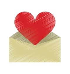 drawing valentines day romantic mail heart vector image vector image