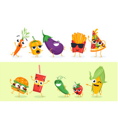 funny vegetables and fast food - set of vector image vector image
