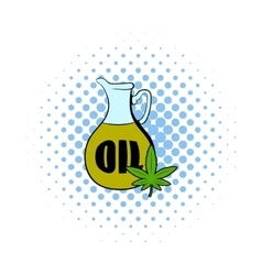 Hemp oil and cannabis leaf icon comics style vector image vector image