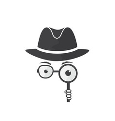 man in hat spectacles and a magnifying glass vector image vector image
