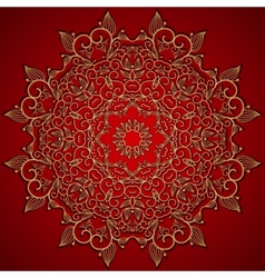 Red round gold lace ornament vector