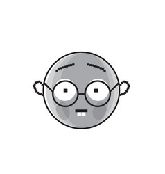 Smiling cartoon face wear glasses positive people vector