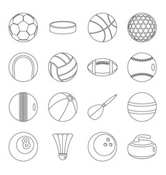 sport balls icons set outline style vector image
