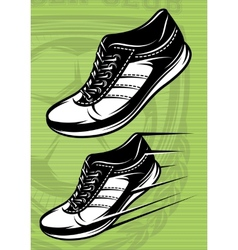 with a set of running shoes on vector image