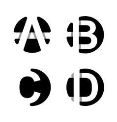 A b c d white stripe in black circle vector