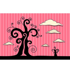 Abstract Black Trees with Clouds on Pink Car vector image