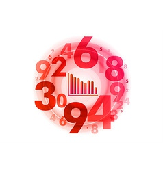 abstract circle numbers red vector image