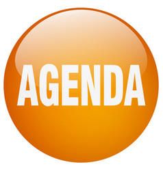 Agenda orange round gel isolated push button vector