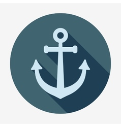 Anchor icon with long shadow Pirates and sea Flat vector image