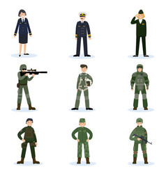 Army soldiers set vector