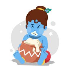 Baby krishna eating butter vector