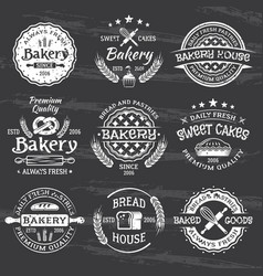 Bakery and pastries vintage white emblems vector