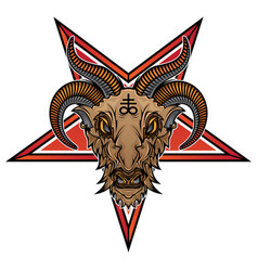 Baphomet demon goat head vector
