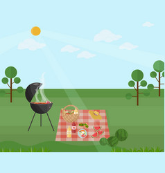Barbecue picnic in a park green nature vector