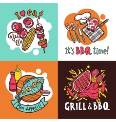 Bbq Grill Design Concept Set vector