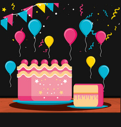 birthday cake with balloons helium vector image