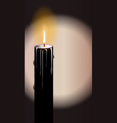 black burning candle vector image