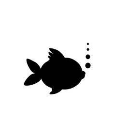 black silhouette of goldfish isolated on white vector image