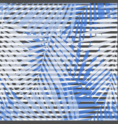 Blue striped palm leaves seamless pattern vector