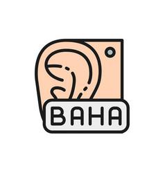 Bone anchored hearing aid baha flat color line vector