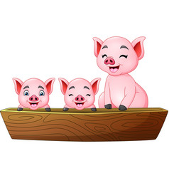 cartoon three little pig riding on a boat vector image