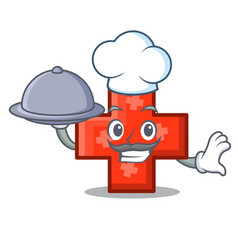 chef with food cross mascot cartoon style vector image