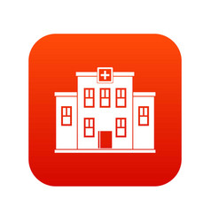 city hospital building icon digital red vector image