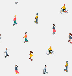 City transportation active people seamless pattern vector