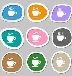 Coffee cup symbols Multicolored paper stickers vector image