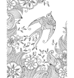 coloring page with beautiful flying bird vector image