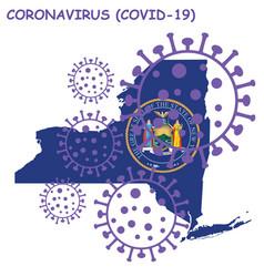 coronavirus covid 19 new york state map vector image