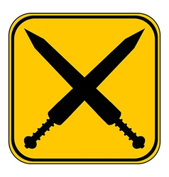 Crossed gladius swords button vector image
