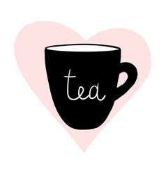 cups tea mug heart love hand drawn style vector image