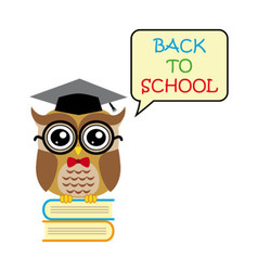 Cute owl teacher on white background cartoon back vector