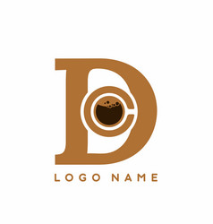 d initial letter with coffee sign inside logo vector image