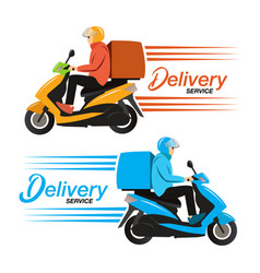 Delivery service ride scooter motorcycle vector