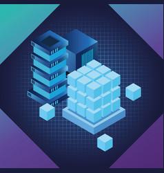 Digital technology blue symbols vector