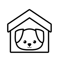 Dog canine young house pet outline vector
