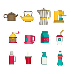 Drink icon set flat vector