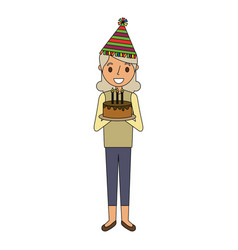 Elderly woman grandma with party hat holding vector