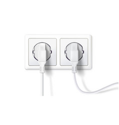 electric plugs and socket realistic white plugs vector image