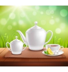 Elements Of Tea Service Composition vector image
